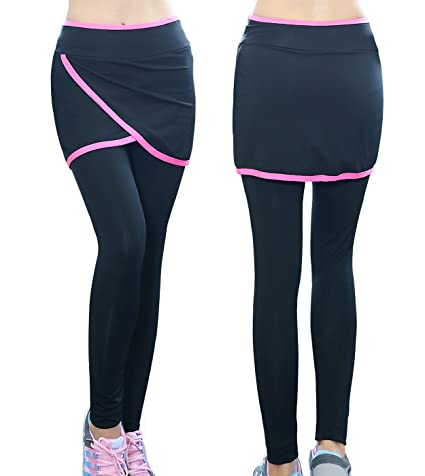 4546ead2fc MAIBU Women Sports Skirt Pants Running Yoga Gym Skirted Tights Leggings  Black with Pink Edge Skirt