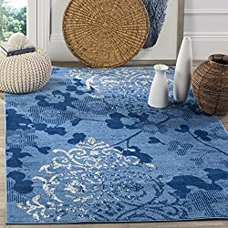 Safavieh Adirondack Collection ADR114F Light Blue and Dark Blue Contemporary Chic Damask Area Rug (3' x 5')