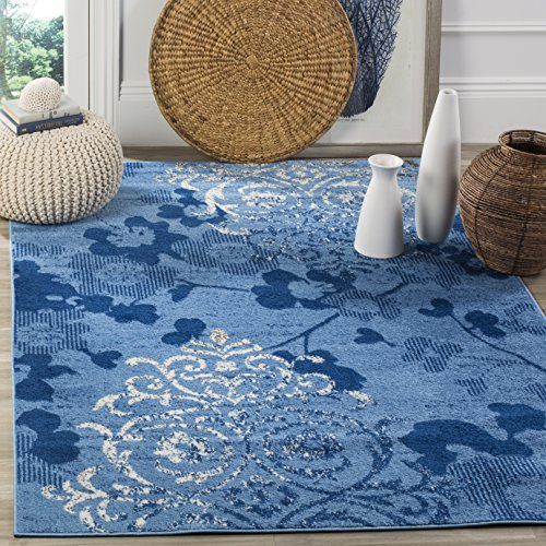 Adirondack Light Blue and Dark Blue Area Rug, 5'1 x 7'6