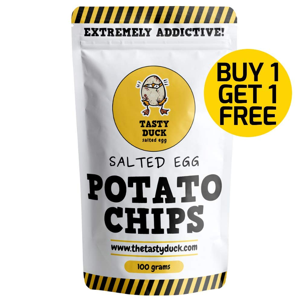 Tasty Duck SALTED EGG Potato Chips Crisps - EXTREME Salted Egg Flavor (BONUS: BUY 1 GET 1 FREE) by Tasty Duck