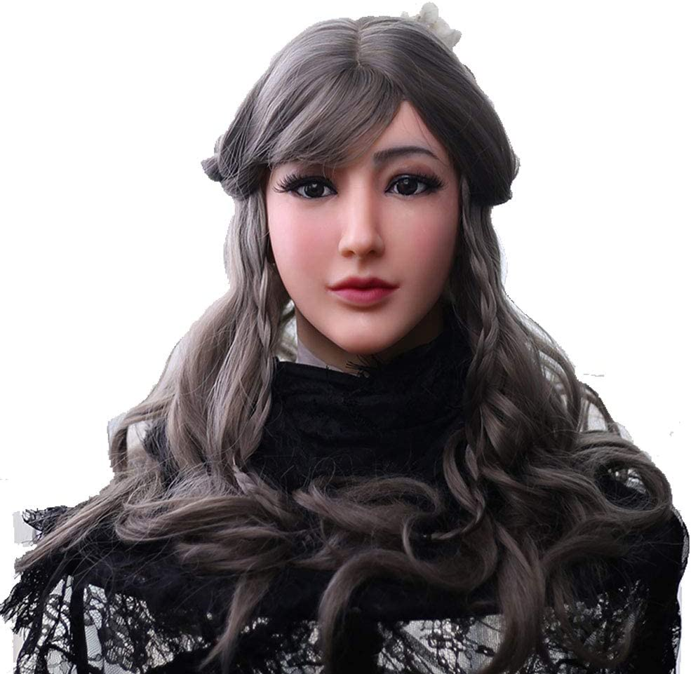 女装 仮面 変装 マスク 男の娘 男性用 メイク 女性マスク 仮装 シリコン仮面 (アイボリー ホワイト)