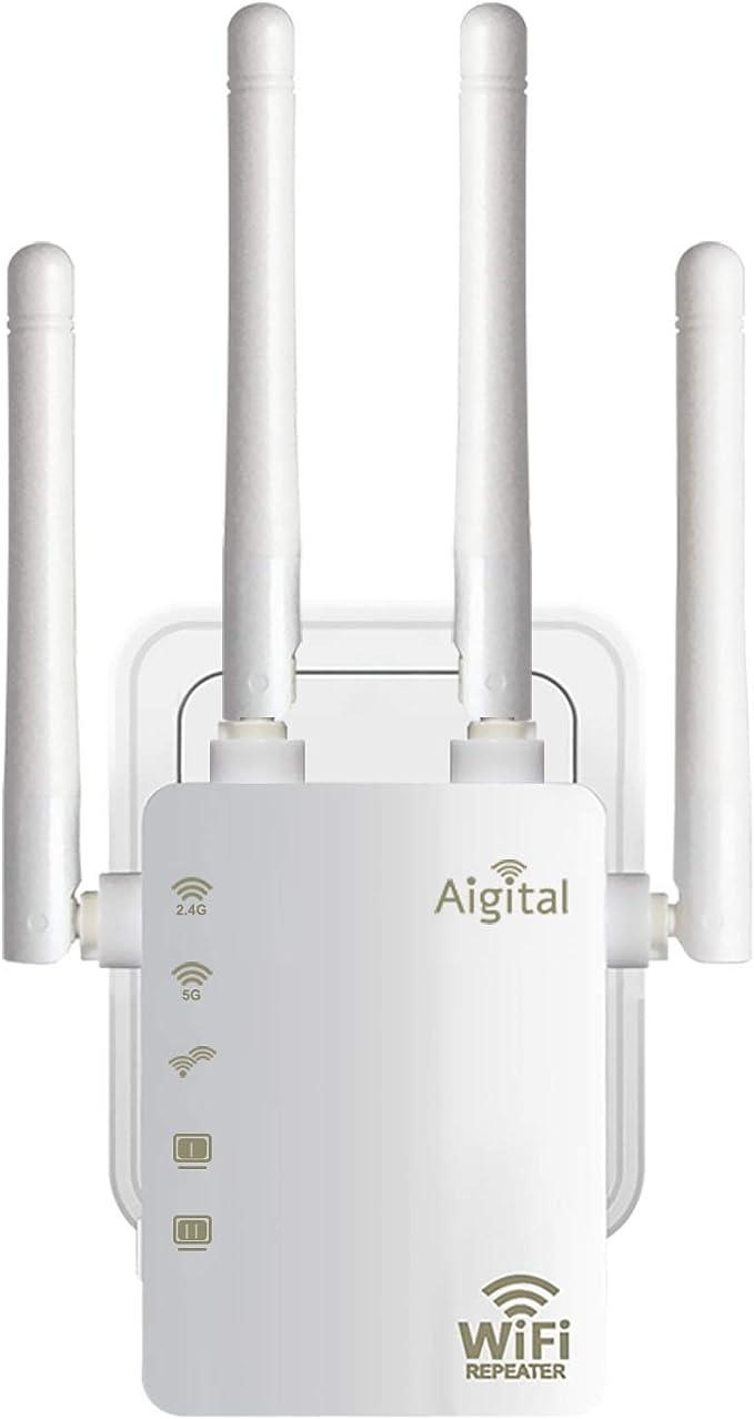 Repetidor WiFi Expansor 1200Mbps, Extensor de WiFi Doble Banda 2.4G/300Mbps+ 5G/867Mbps Amplificador de WiFi con 2 Puerto Ethernet, 4 Antenas ...