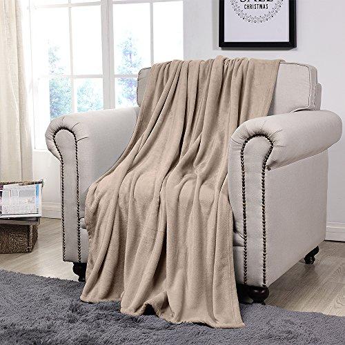 nel Fleece Blanket Velvet Plush Throw GSM250 Lightweight Cozy (Beige) ()
