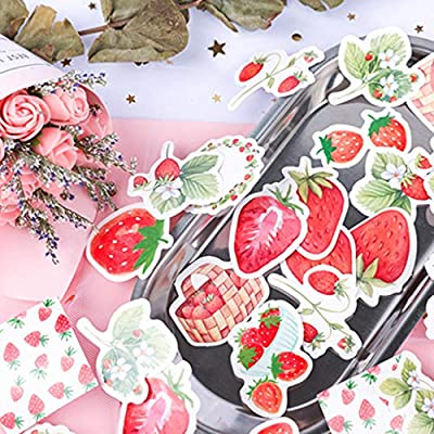 KUKALE Sticker - 45pcs/Box Strawberry Stationery Sealing Label, Travel DIY Scrapbooking Diary Albums Decorations: Toys & Games