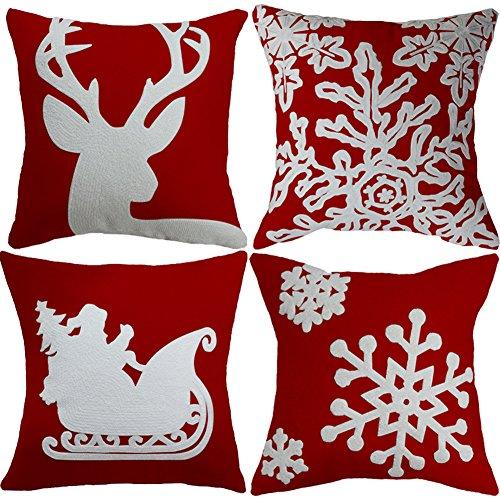4 Pcs Christmas Pillow Cover Embroidered Snowflake Santa Rei