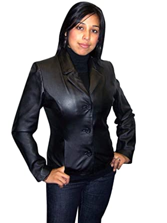 2a1b0c63f9c Women s 3 Buttons Black Sports Blazer Jacket Genuine Soft Leather at Amazon Women s  Clothing store