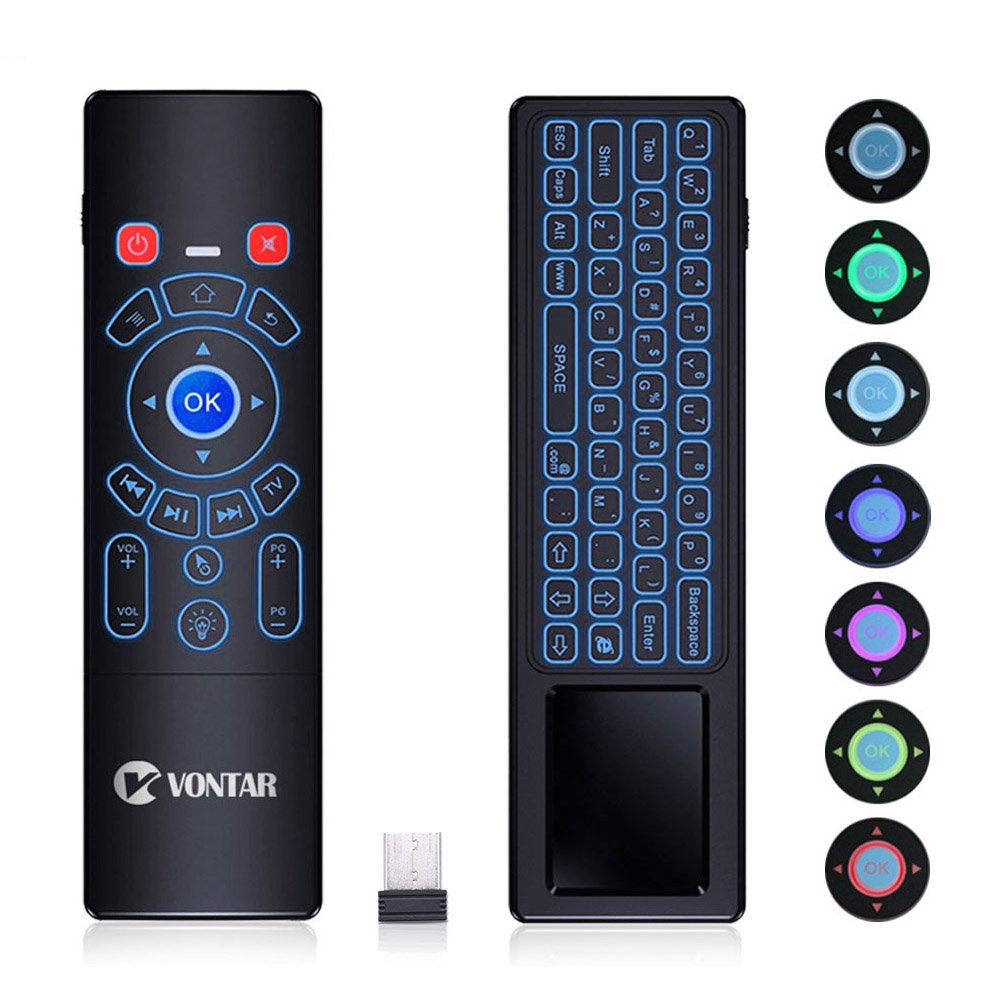 07ac178ee7d Android TV Box Remote,V VONTAR 2.4GHz Wireless Keyboard with Colorful Backlit  Keyboard,