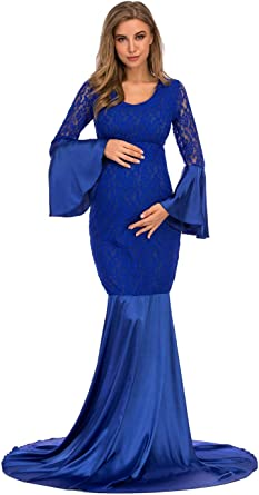 Ziumudy Maternity Lace Fitted Gown Long Sleeve Maxi Mermaid Photography Dress Baby Shower Photo Shoot At Amazon Women S Clothing Store