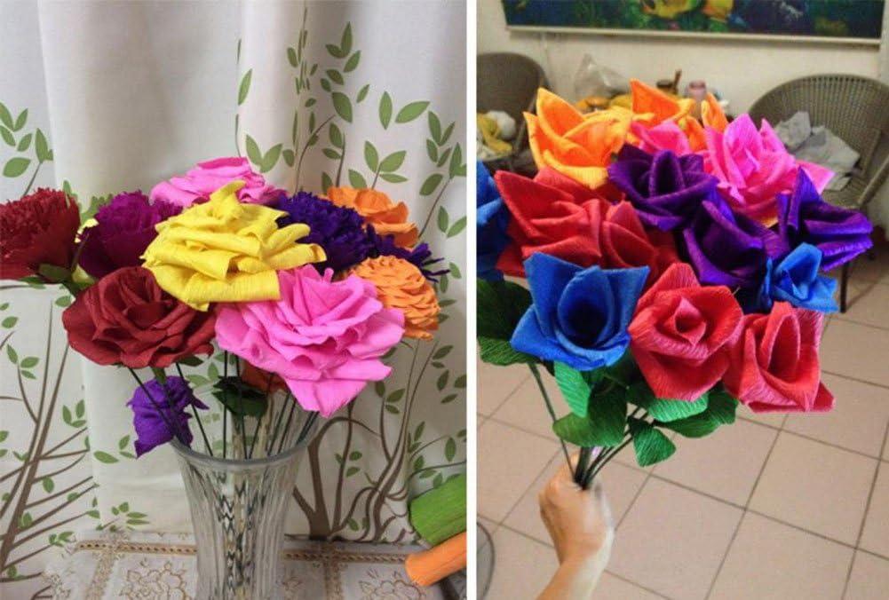 DaoRier Krepppapier Bunt Kreppb/änder DIY Handarbeit Origami Rosen Krepppapier f/ür Deko Party Feier Dekoration Size 50 250cm Cyan