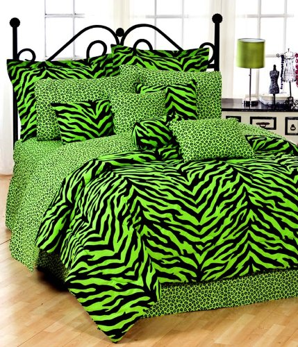 Lime Green Zebra TWIN 11 Pc Bedding Set (Comforter, 1 Flat Sheet, 1 Fitted Sheet, 1 Pillow Case, 1 Sham, 1 Bedskirt, 1 Valance/Drape Set) - SAVE BIG ON BUNDLING!
