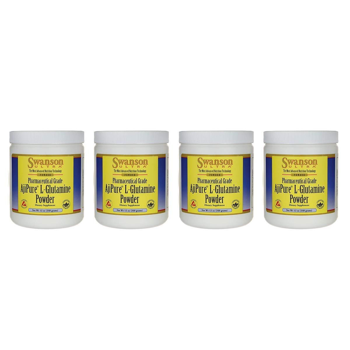 Swanson Amino Acid Ajipure L-Glutamine Powder 12 Ounce (340 g) Pwdr (4 Pack)