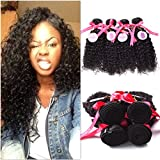 Punzel's 10-30 Inches Brazilian Virgin 7A 100% Human Hair Extensions, Pack of 4,100g/Bundle, Natrual Color Curly Weft
