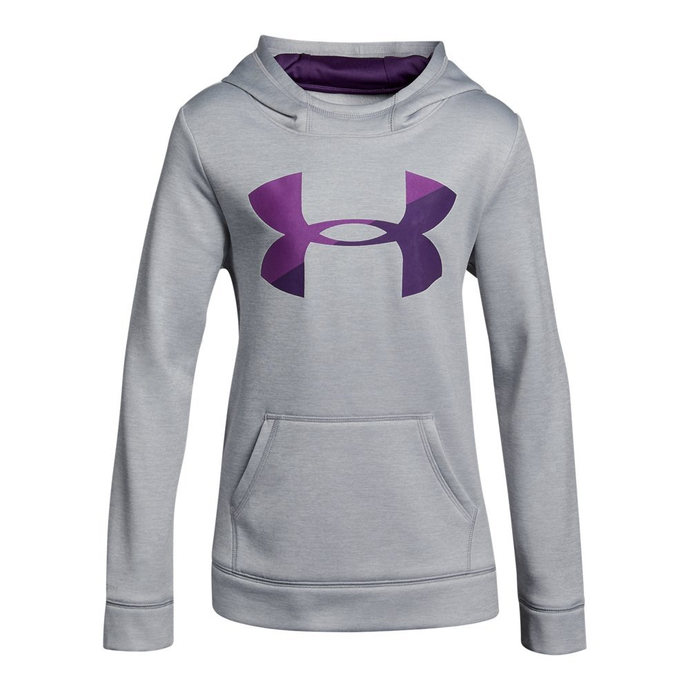 Under Armour Girls' Armour Fleece Big Logo Novelty Hoodie,Overcast Gray /Indulge, Youth X-Small