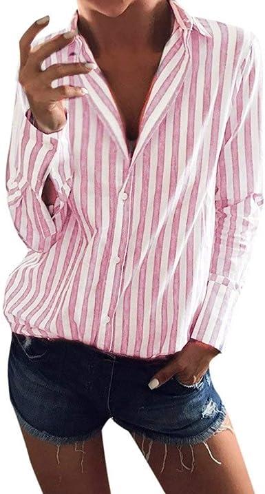 BOLAWOO Camisa Estampada con Cuello A Suelto V En Rayas Mode De Marca para Mujer Sudadera