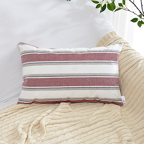 Natus Weaver Burgundy Pure White Stripe Pillow Cases Soft Linen Square Decorative Throw Cushion Cover Pillowcase with hidden Zipper for Sofa - 12