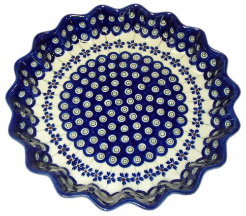 Teresa Beach Polish Pottery Scalloped 10 inch Quiche Dish, Floral Peacock pattern