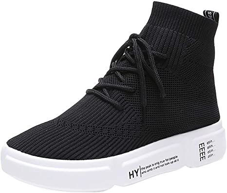 Men Women High Top Trainers Sock Shoes Breathable Lightweight Sneaker Causal Gym