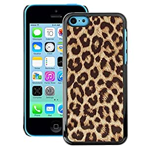 A-type Arte & diseño plástico duro Fundas Cover Cubre Hard Case Cover para iPhone 5C (Africa Cat Brown Fur Pattern)