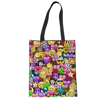 Amazon.com: Wasab Emoji Shopping Bags Women Casual Cute ...