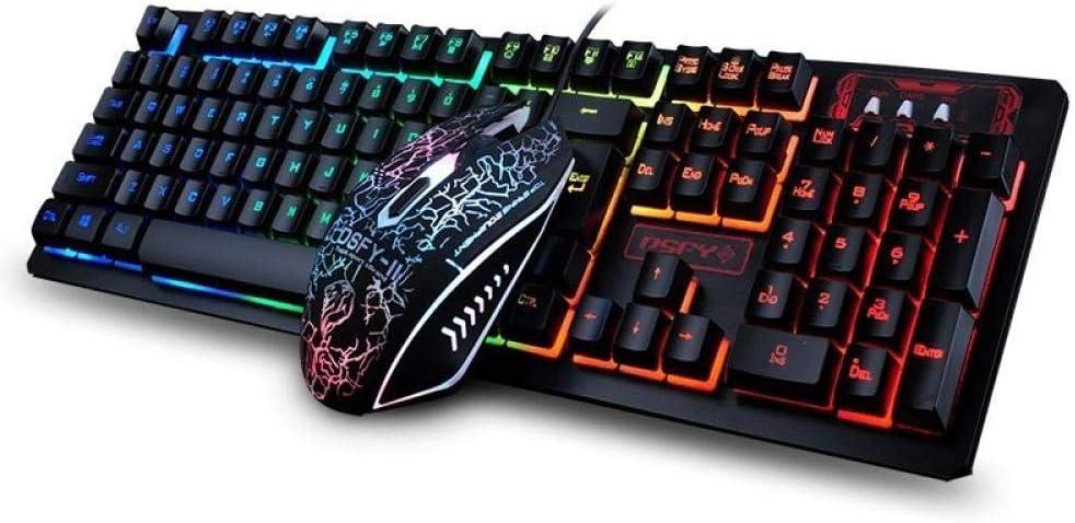 Combo de Teclado y Mouse USB con Cable LED Rainbow Backlight ...