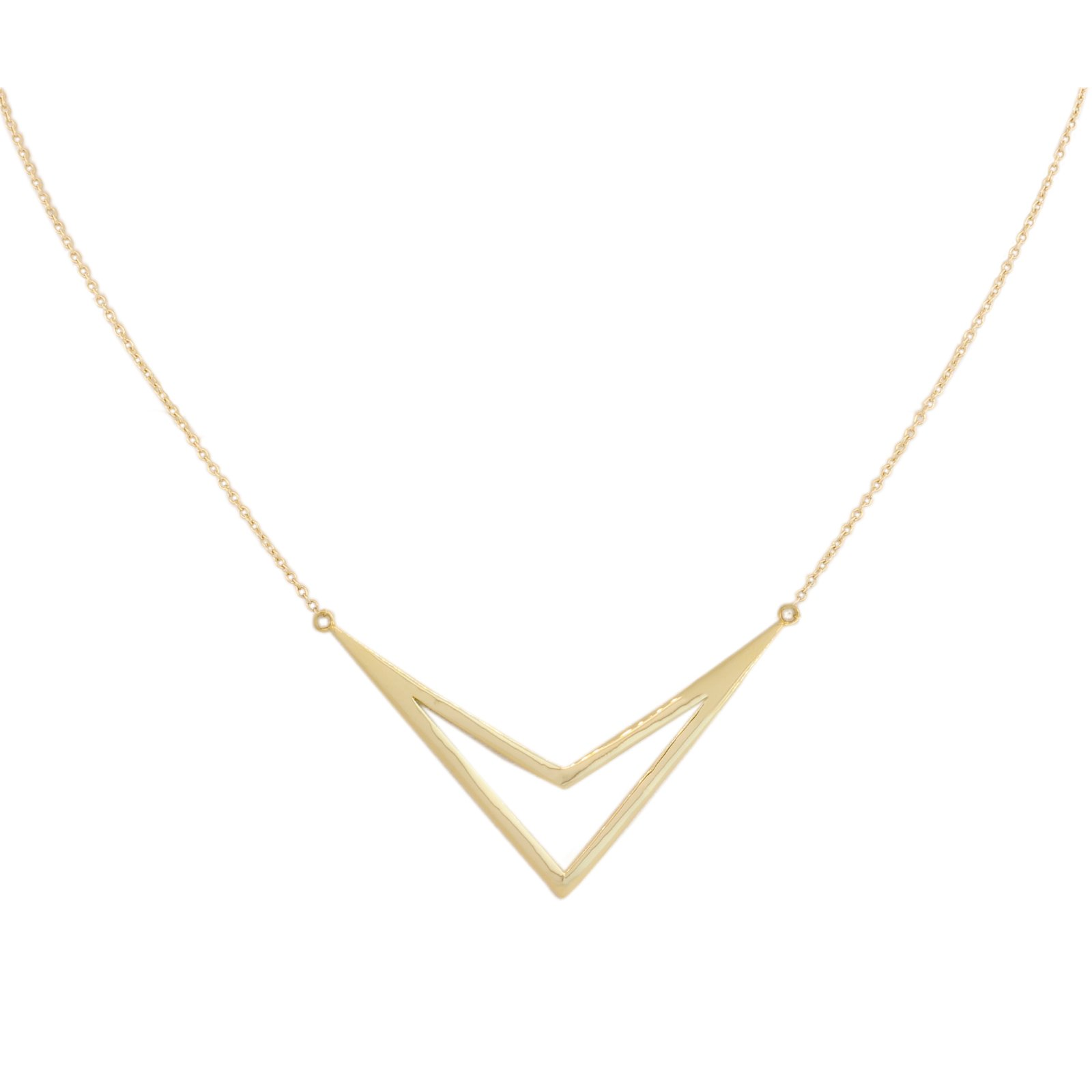 Stackable Style Arrow Necklace Yellow Gold 14k Necklace Trendy Arrow 17 inch