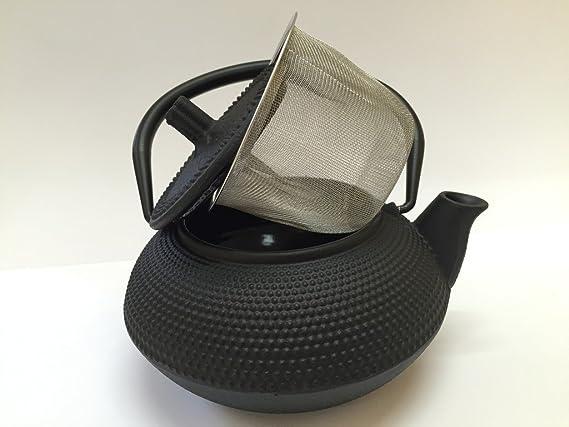 Tetera de hierro colado con filtro - capacidad 0.3 litros y color negro - teteras para vitroceramica, inducción y gas – tetera de metal pequeña tamaño ...
