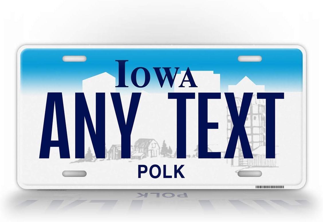 SignsAndTagsOnline Custom Iowa State License Plate IA Replica Personalized Text Novelty Auto Tag