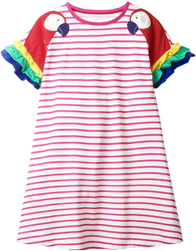 Girls Clothes Cotton Short Sleeve Casual Summer Striped Dresses for Girls Kids 2-8 Years: Clothing