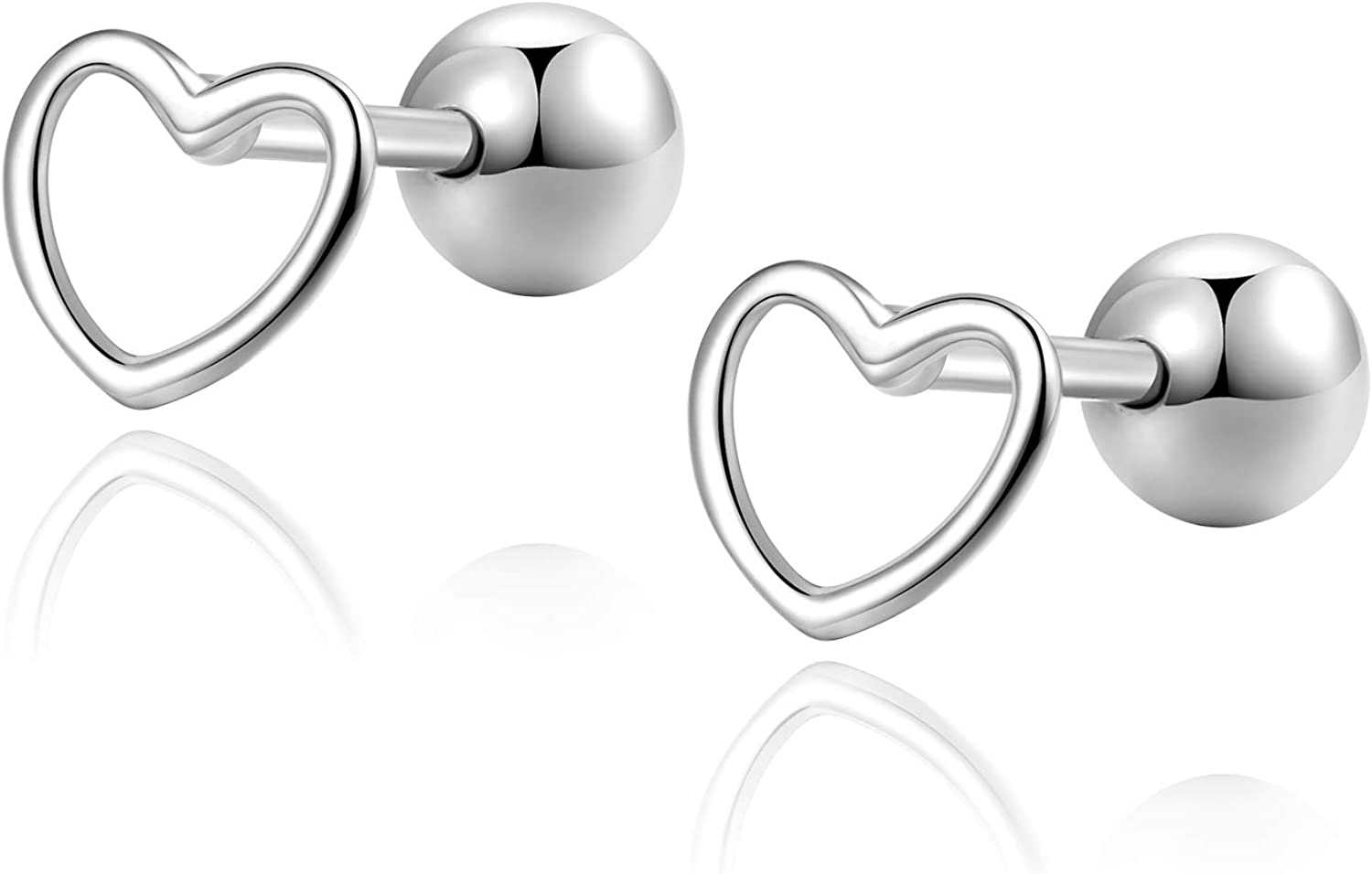 Love Heart Sterling Silver Cartilage Earring Studs Screwback Earrings Helix Barbell Piercing for Women