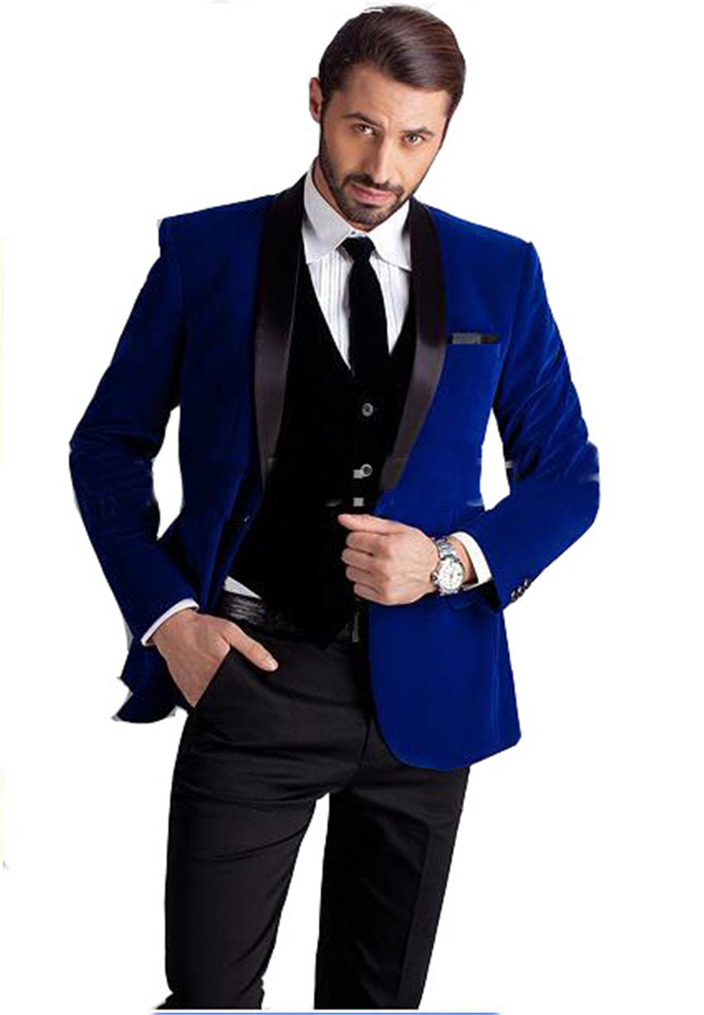 Royal Blue Velvet Groom Tuxedos groommens Suits/One Button Groom Wedding Suits For Mens