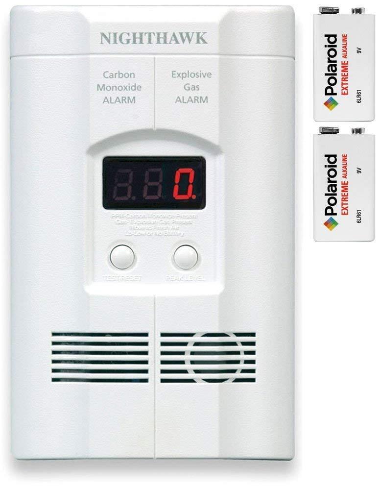 Kidde KN-COEG-3 Nighthawk Plug-in Carbon Monoxide and Explosive Gas Alarm with 2 9v Polaroid Extreme Alkaline Battery Backups