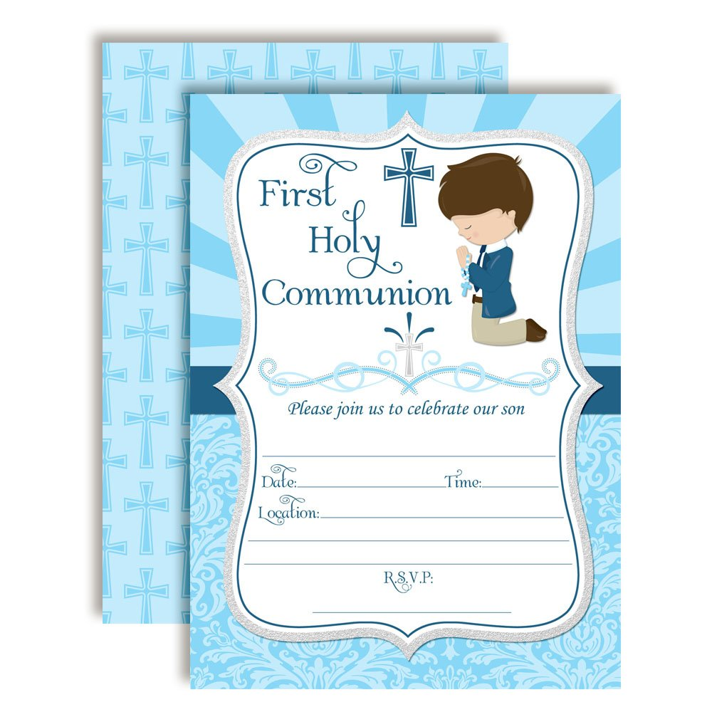 First Holy Communion Religious Party Invitations for Boys, 20 5''x7'' Fill in Cards with Twenty White Envelopes by AmandaCreation