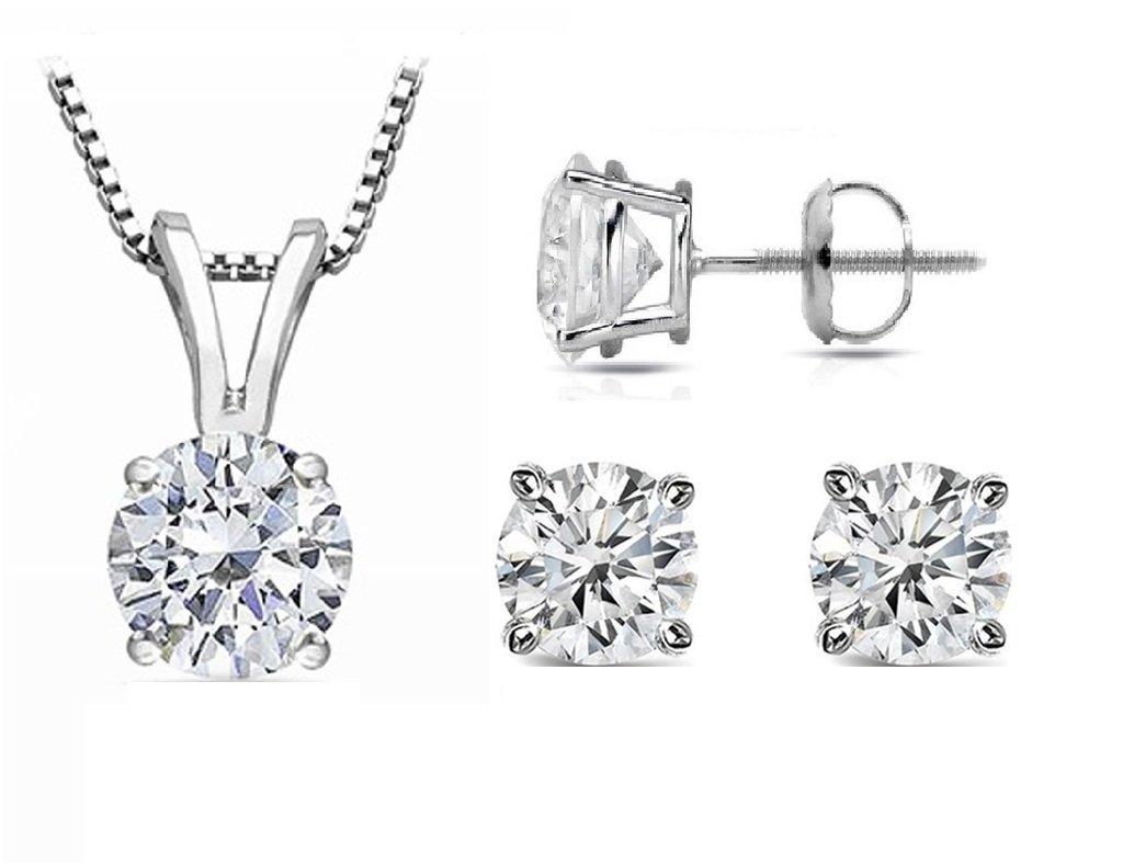PARIKHS Round Diamond Set Promo Quality-ScrewBack 14K White Gold (0.07 ctw, I3 clarity)