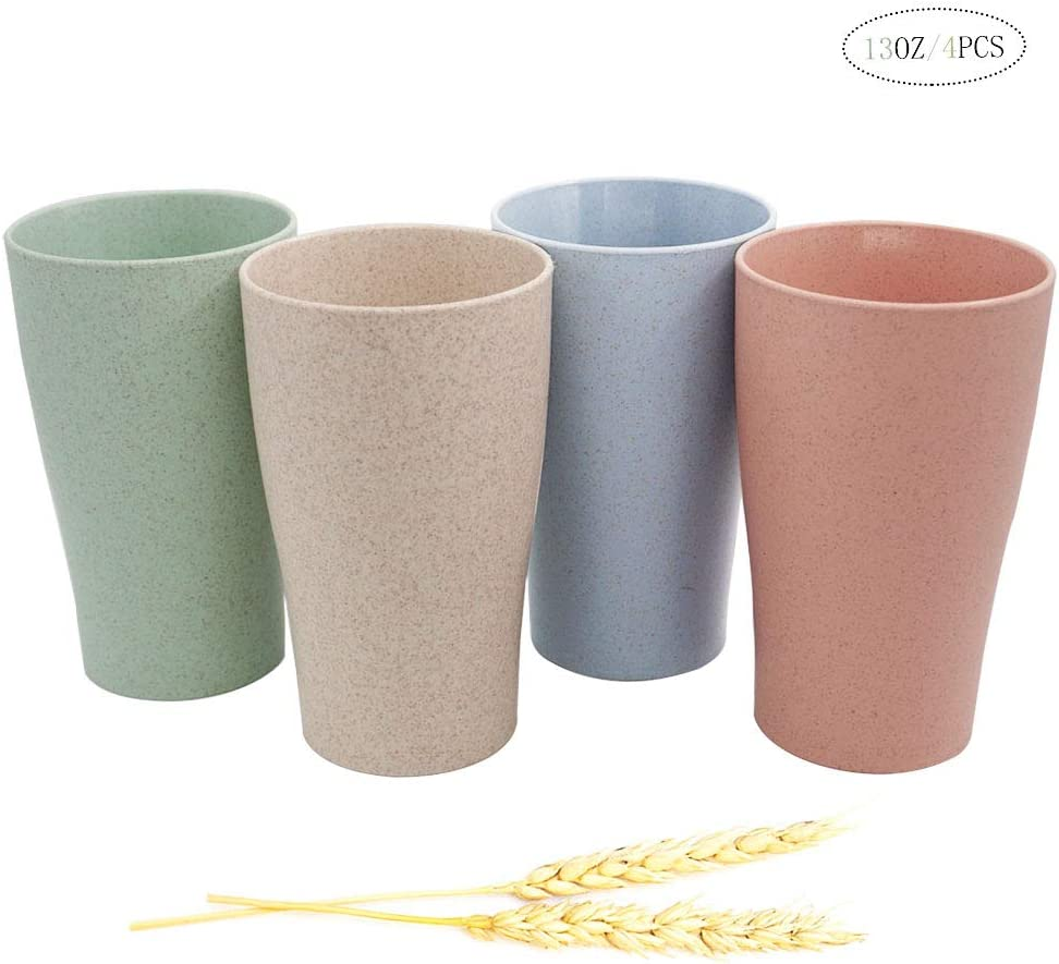 Unbreakable Durable Wheat Straw Drinking Cup,Eco-friendly Biodegradable Reusable Bathroom Cup Toothbrush holder,(13 OZ) Set of 4, Dishwasher and Microwave Safe