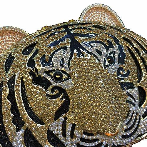 Lady Dazzle Full Diamond Clutch Tiger Head Evening Bag Bling Rhinestone Chain Cross Body Bag Animal Purse (Gold 1) by nice--buy (Image #3)
