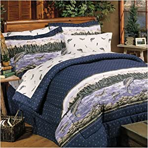Trout print bedding fish decor twin home for Fish bedding twin