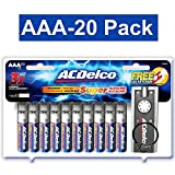 ACDelco AAA Super Alkaline Batteries with Bonus LED Keychain Flashlight, 20-Count