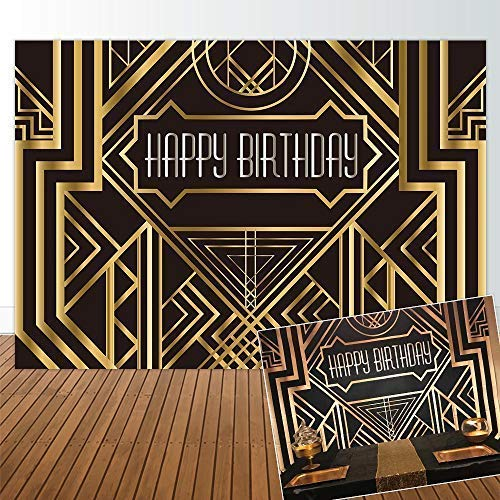 Allenjoy 7x5ft The Great Gatsby Themed Backdrop for Adults Wedding Party Decoration Black and Gold Roaring 20s Art Decor 1920s Happy Birthday Children Supplies Photography Pictures Photo Studio Booth]()