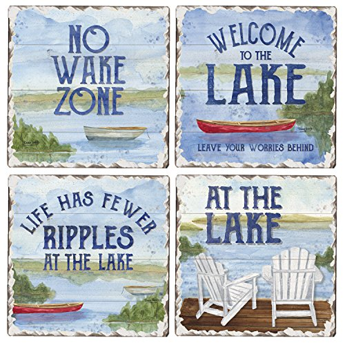 CounterArt Set of 4 Assorted Tumbled Tile Coasters, Lake House Greetings ()