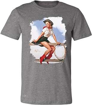 Sexy Vaquera Hi Ho plateado camiseta para hombre Cool occidental Pin Up Tee Deep Heather Large: Amazon.es: Ropa y accesorios