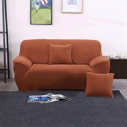 Funda Cubierta de Sofá de 1/2/3/4Asientos con Capacidad Elástica para Decoración y Protcción de Sillas Sofás Muebles (Cuatro asientos, Café y Rojo)