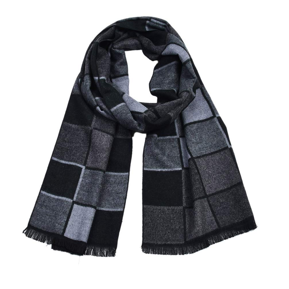 RUYA Mens Plaid Scarf Soft Winter Scarf Faux Fleece Scarves Warm Scarves Shawls