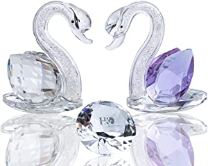 H&D HYALINE & DORA Crystal Swan Figurines Collectibles with Glass Diamond Home Decor Favor or Wedding Decoration or Crystal Gifts (Clear&Purple)