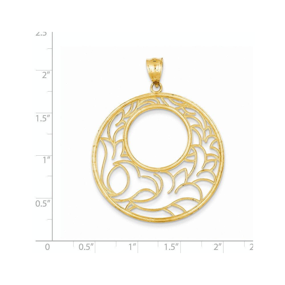 Diamond2Deal 14k Yellow Gold Circle Pendant