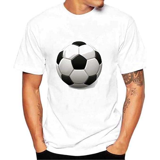 Darringls Camisetas Cortas Hombre,Manga Corta Camisetas Verano Cuadros Impresión T Shirt Blusas Camisas Tops Personalidad Blanco-Cuadros de Futbol: ...