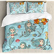 Mermaid King Size Duvet Cover Set by Ambesonne, Cute Collection of Mermaids with Different Types of Sea Creatures Marine Decor Print, Decorative 3 Piece Bedding Set with 2 Pillow Shams, Teal Orange