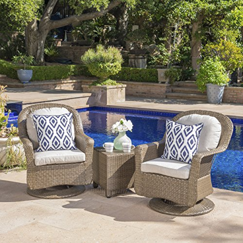 Linsten Outdoor Brown Wicker Swivel Club Chairs and Side Table Set with Ceramic Grey Water Resistant Cushions