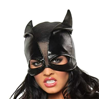 Moda Reina negro Catwoman disfraz sombrero máscara Cosplay orejas ...