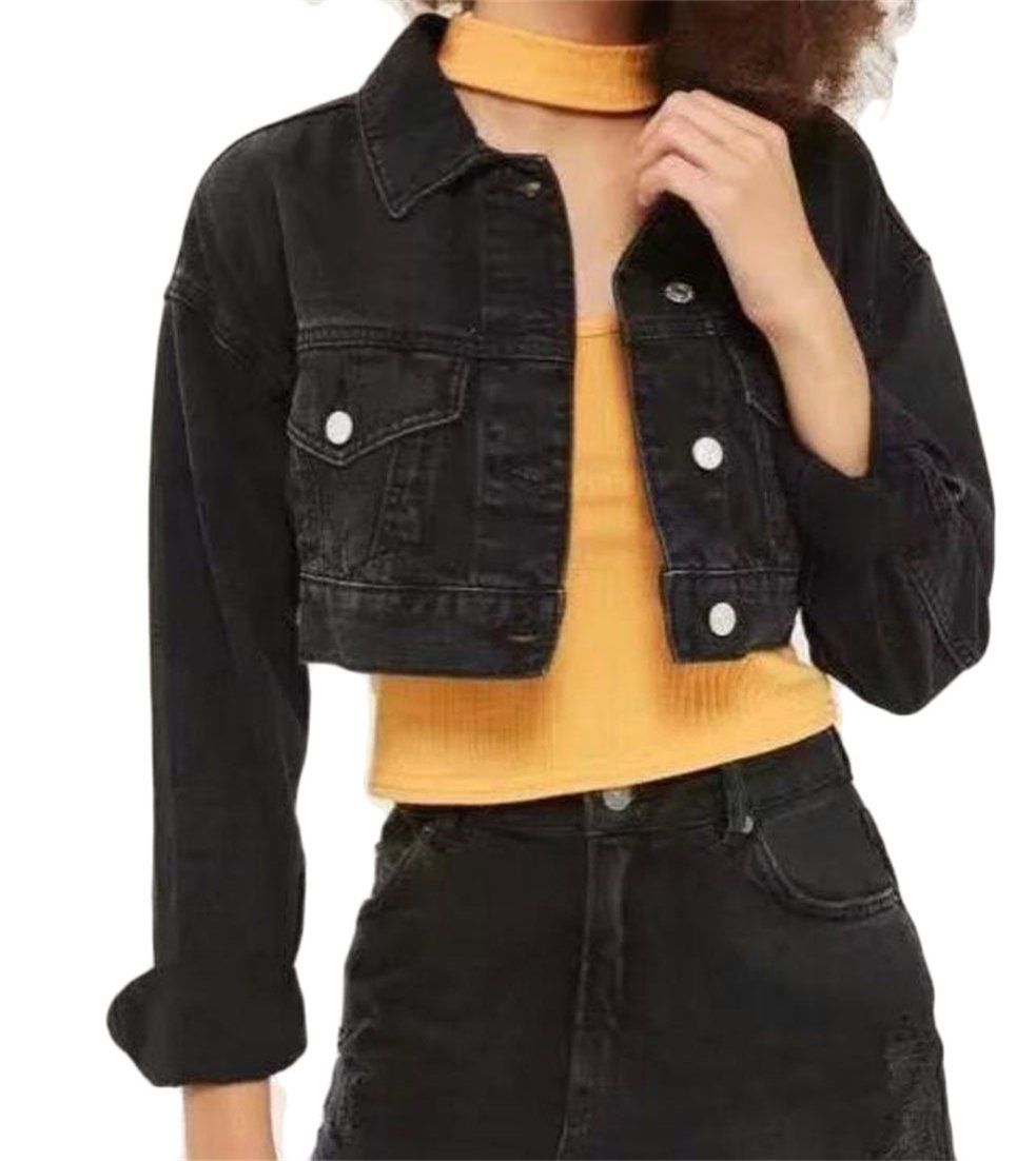 Cromoncent Women's Casual Long Sleeve Crop Top Slim Short Denim Jacket Black M