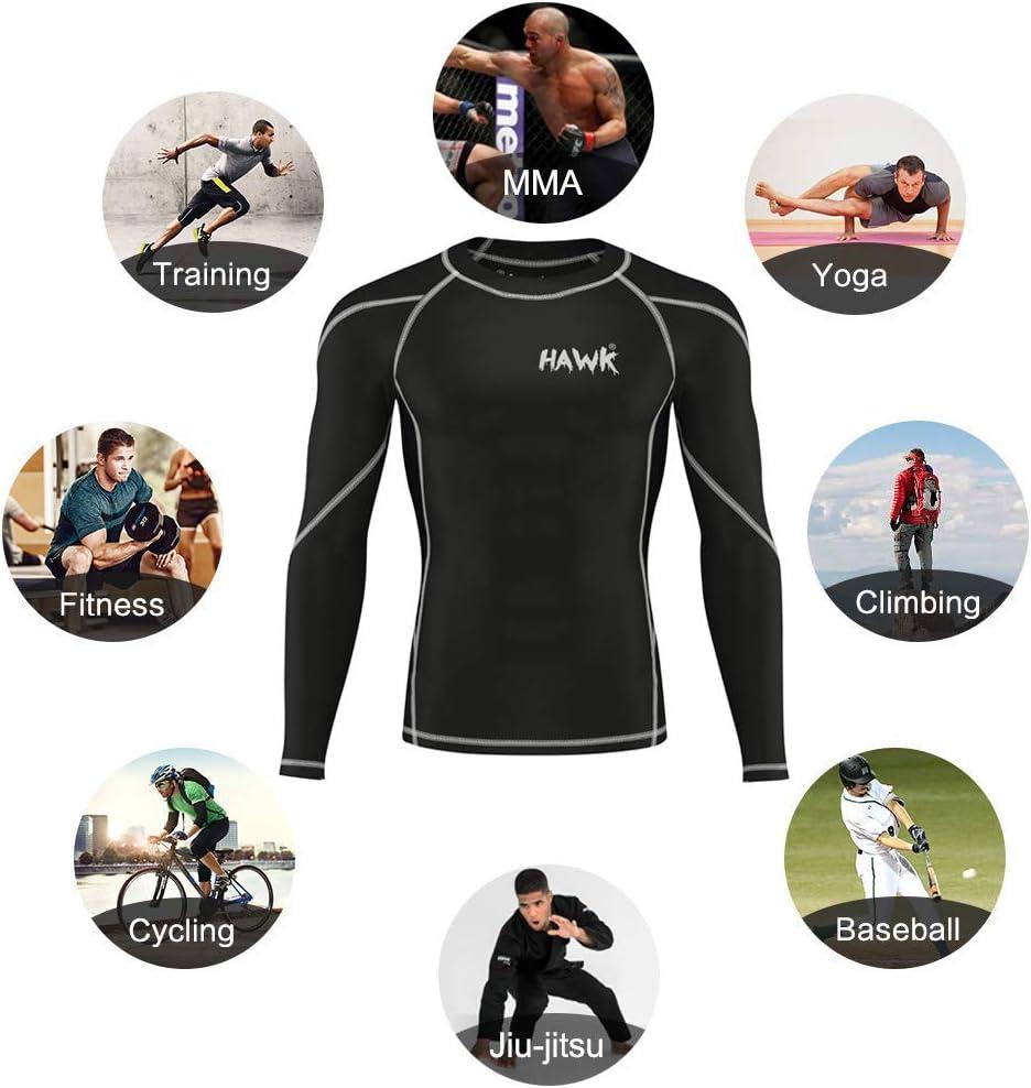 Hawk Sports Mens Compression Shirts Base Layer Athletic Gym MMA BJJ Rash Guard No Gi Full Long Sleeve Rashguard Shirt for Men